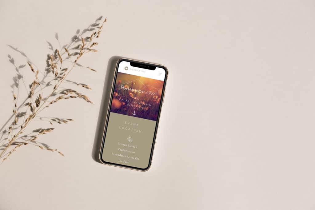Website für Hochzeitslocation Smartphone Ansicht